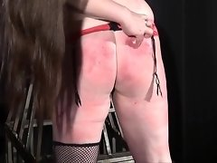 Chubby lesbian slave Alyss whipped to tears and merciless female dominant video on WebcamWhoring.com