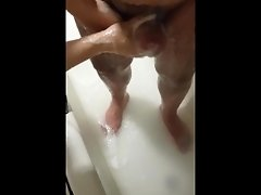 Step mom make's step son cum while she's washing him in the bathroom video on WebcamWhoring.com