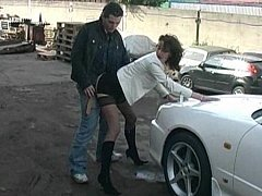Clothed girl gets fucked on a car hood video on WebcamWhoring.com