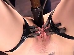 Blonde hogtied and fucked with dick on a stick video on WebcamWhoring.com