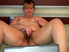 young fat woman with a hairy pussy in nylon pantyhose, anal with a toy video on WebcamWhoring.com