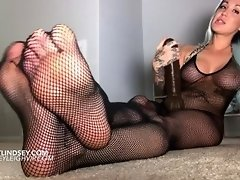 LL Teases With Fishnet Feet Topless video on WebcamWhoring.com