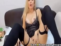 Gorgeous Blonde Strips And Masturbates Her Pink Pussy video on WebcamWhoring.com
