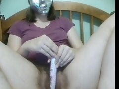 A Masked Masturbator Fiddles Her Hairy Bush video on WebcamWhoring.com