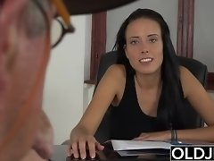 Caught Grandpa Having Sex With Young Brunette at job interview video on WebcamWhoring.com