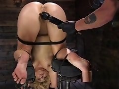 Restrained slave in device toyed video on WebcamWhoring.com