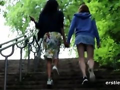 Two Partially Clothed Lesbians Fingering and Kissing in the Woods video on WebcamWhoring.com