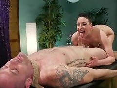 Masseuse sucks dick to tied up slave video on WebcamWhoring.com