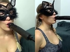 Sexy Cat Slave Fucking Machine Blowjob & Deepthroat Training - RARE video on WebcamWhoring.com