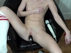 In a chair getting fucked by my fucking machine and playing with breastmilk video on WebcamWhoring.com