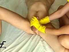 Cock massage in yellow ribbed gloves, slow handjob ~DirtyFamily~ video on WebcamWhoring.com