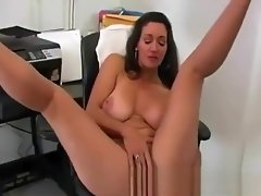 Voluptuous boss MILF dildo fucking her twat at the office video on WebcamWhoring.com