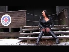Busty Lady with Leather Jacket in the Snow - Blowjob Handjob with Leather Gloves - Cum on my Tits video on WebcamWhoring.com