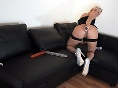 Solo Ass too Mouth double dildo Deepthroat and Anal. PAINFULL ANAL!!! video on WebcamWhoring.com