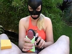 Outdoor Bondage Femdom Handjob Cumshot with Vibrator and Sponges - UNIQUE video on WebcamWhoring.com