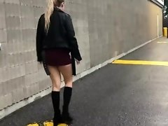 Teen pisses hard in short skirt outside video on WebcamWhoring.com