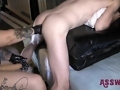 Tattooed Milf Bends Him Over And Gives Him A Rough Fisting video on WebcamWhoring.com