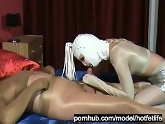 Girl With Latex Mask + Guy With Latex Gasmask Full In Pantyhose Encasement video on WebcamWhoring.com