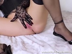 Kinky blonde Michelle Moist fingers pussy in lace gloves basque nylons and heels video on WebcamWhoring.com