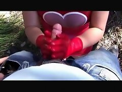 Hot Latex Heartbeat Babe - Outdoor Blowjob Handjob with Red Latex Gloves - Cum on my Gloves video on WebcamWhoring.com