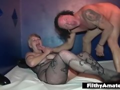 Lady drinks cum from the shoe and squirts in real orgy video on WebcamWhoring.com