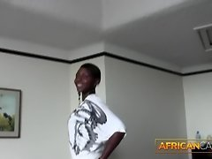 Amateur African Talked Into Sucking Dick At Casting video on WebcamWhoring.com