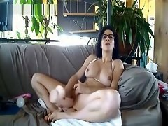 Amateur In Glasses Uses Huge Toy video on WebcamWhoring.com
