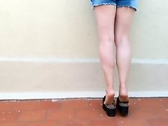 DIRTY FEET -- Walking with chunky shoes + shoeplay + leg show video on WebcamWhoring.com