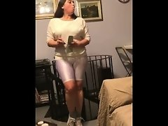 Heavy smoking inhale in white shorts leggings video on WebcamWhoring.com