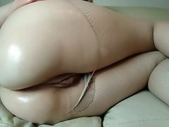 giant ass: oil and fingering with torn fishnet pantyhose video on WebcamWhoring.com