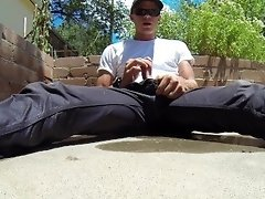Soaking my grey pants in my backyard and shooting my load video on WebcamWhoring.com