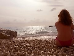 Romantic Public Beach Sunset Blowjob by Awesome Busty Redhead Teen Amateur video on WebcamWhoring.com